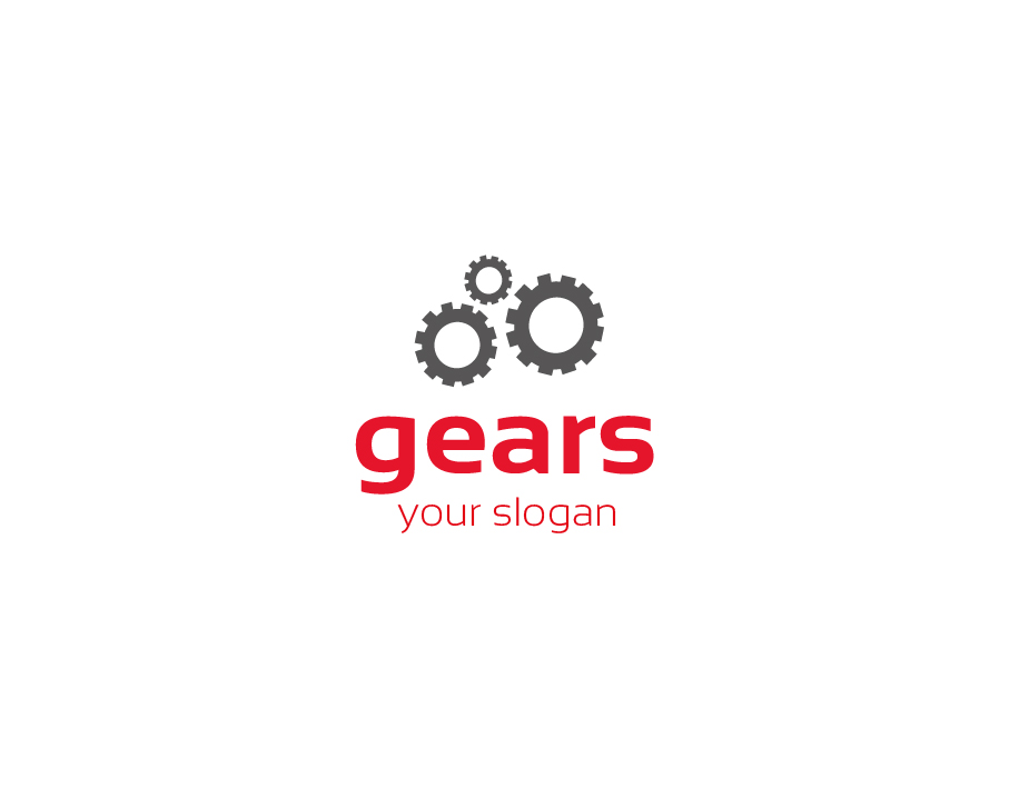 Gears Logo – Grey Gears with Red Text