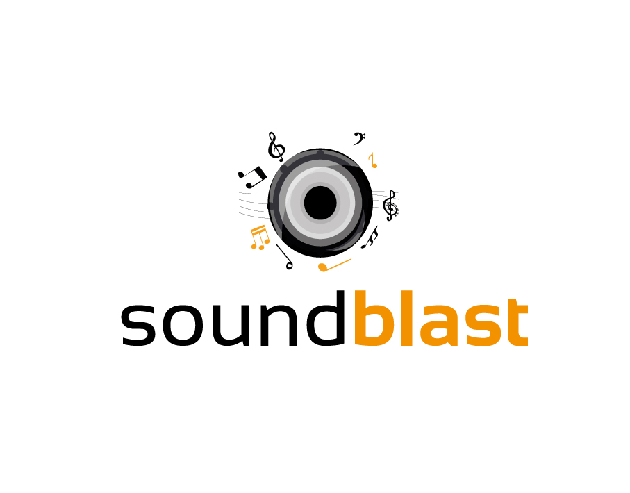 Soundblast Logo with Speaker and Musical Notes