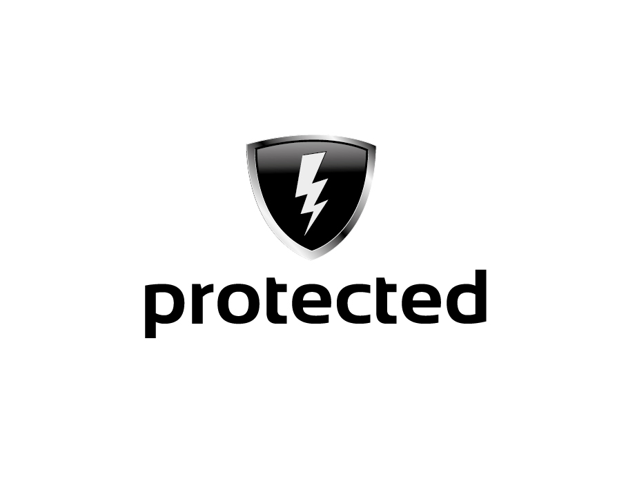 Protected Logo – Black Shield with Lighting Bolt