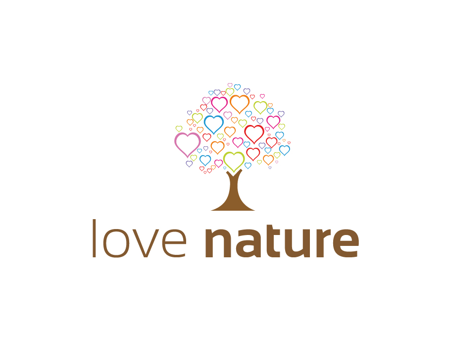Love Nature Logo – Abstract Tree with Colorful Hearts