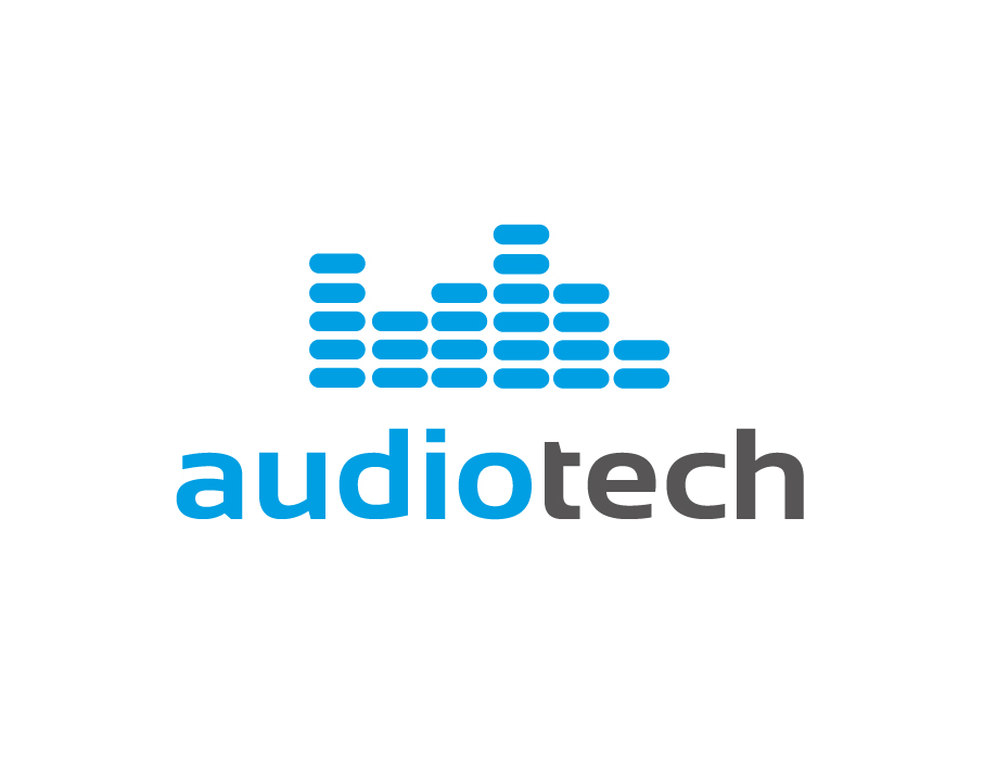 Audiotech Logo – Sound Volume Level Bars in Blue