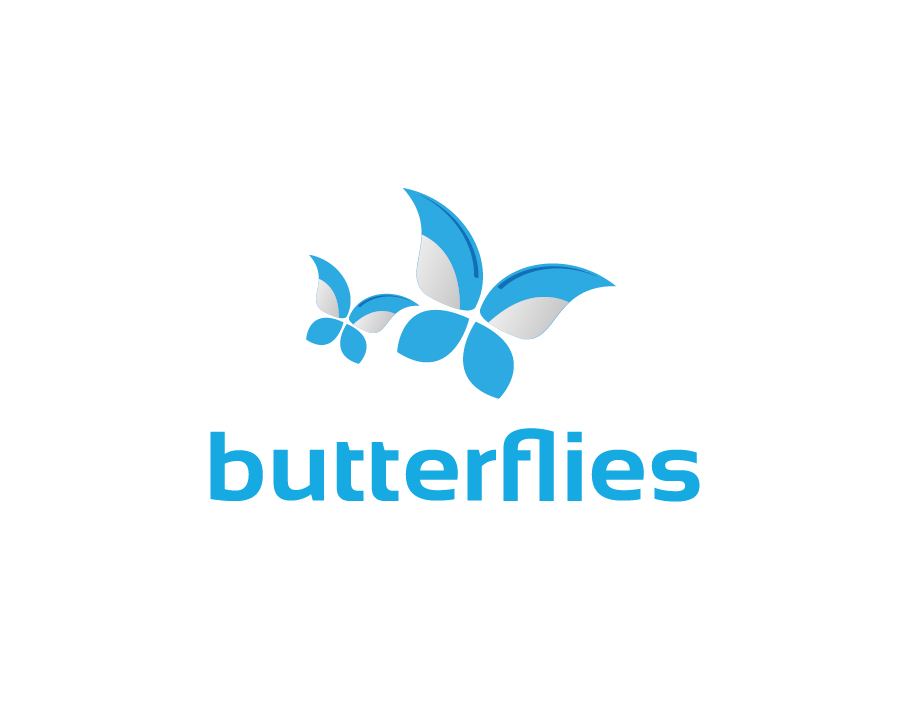 Butterflies Logo – Abstract Butterflies in Blue and Grey