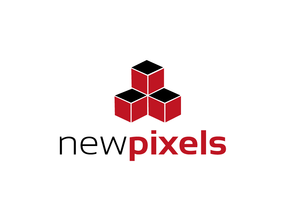 Newpixels Logo – Piled Up Cubes in Red and Black