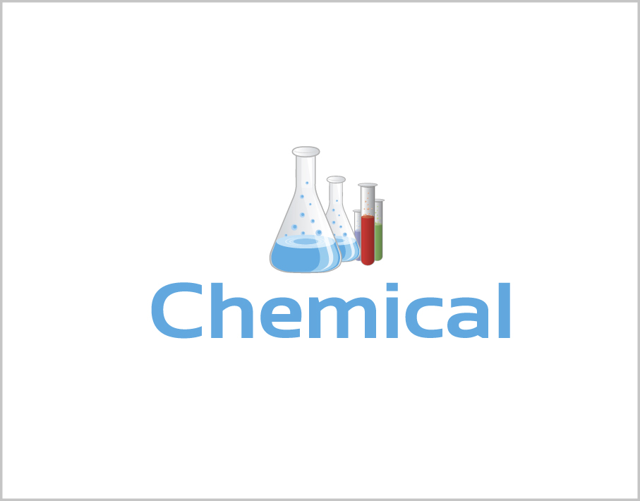 Blue Chemical Logo with Laboratory Glassware Icon