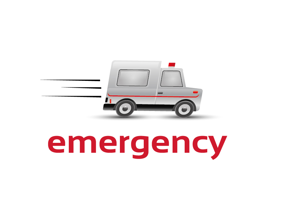 Emergency Logo – Speeding White and Red Ambulance