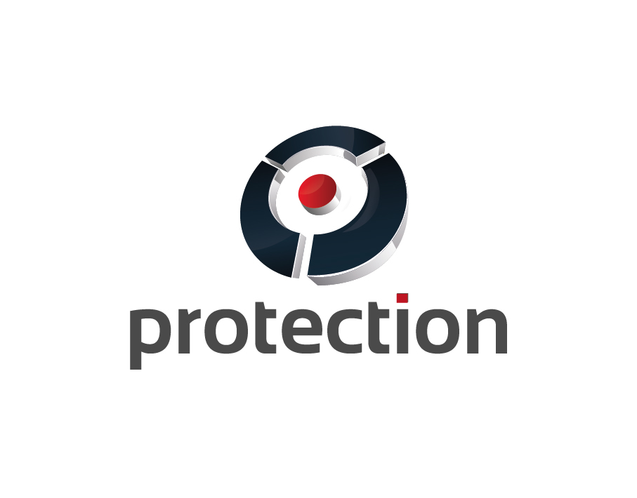 Protection Logo – Abstract Target Icon in Black and Red with Grey Text