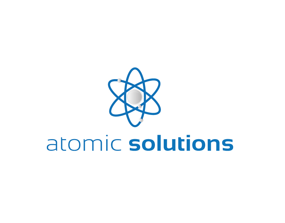 Atomic Solutions Logo – Abstract Blue and Grey Nuclear Symbol