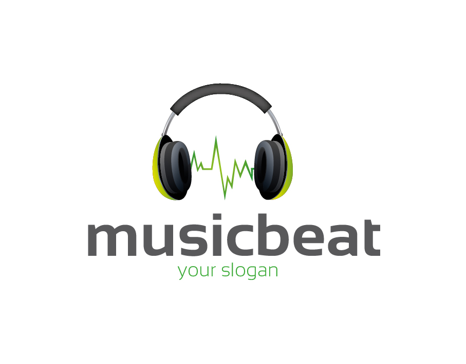 Musicbeat Logo – Headphones with Green Sound Wave and Bold and Light Text