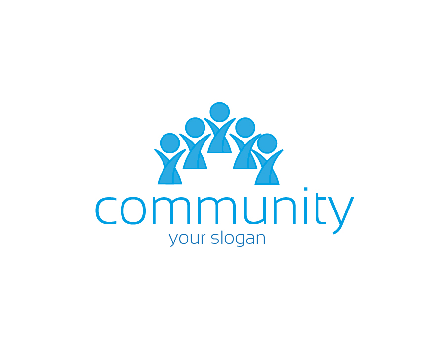 Community Logo – Abstract Blue People with Light Text