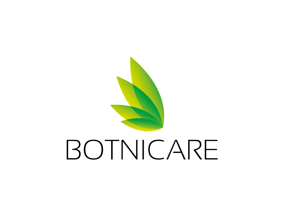 Botnicare Logo – Minimalist Green Leaves with Light Black Text