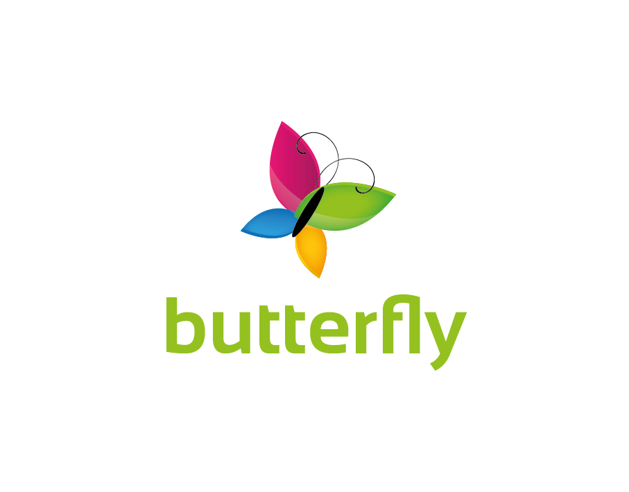 Butterfly Logo – Abstract Colorful Butterfly with Green Text
