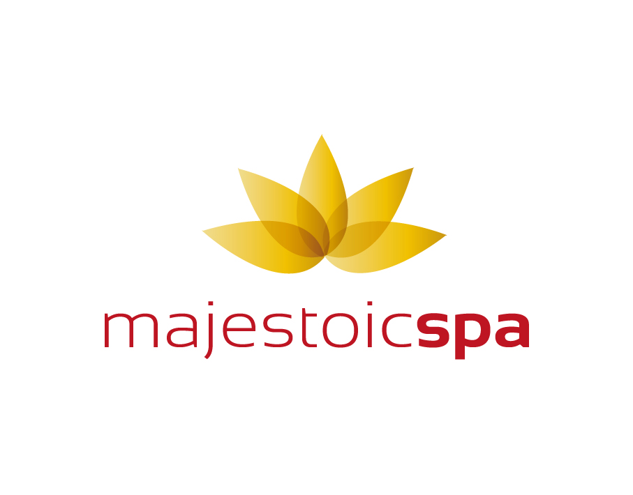 Majestoic Spa Logo – Modern Floral Design in Yellow with Red Light and Bold Text