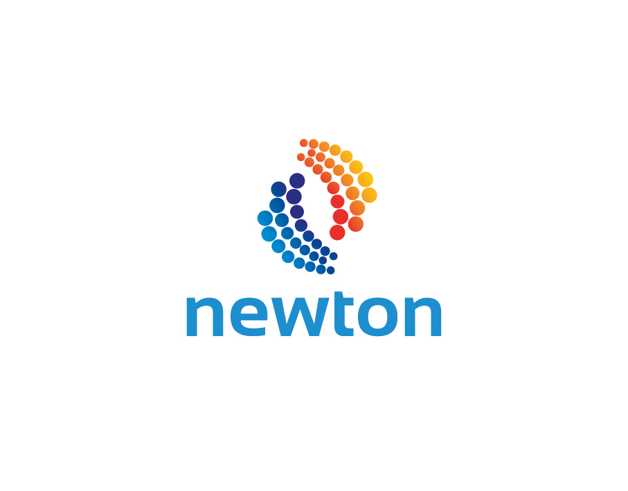 Newton Logo – Colorful Dots in Semi Spiral Design with Black Text