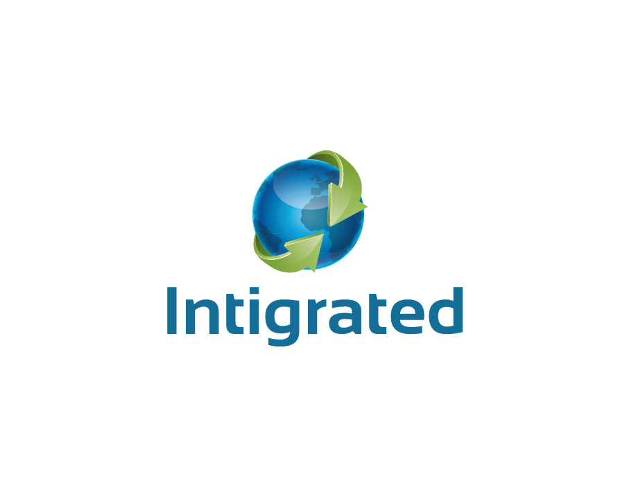 Intigrated Logo – Earth Globe with Green Arrows and Bold Text