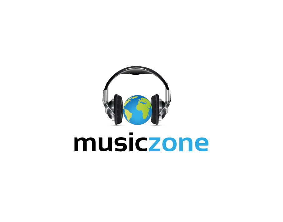 Music Zone Logo – Earth Globe and Headphones