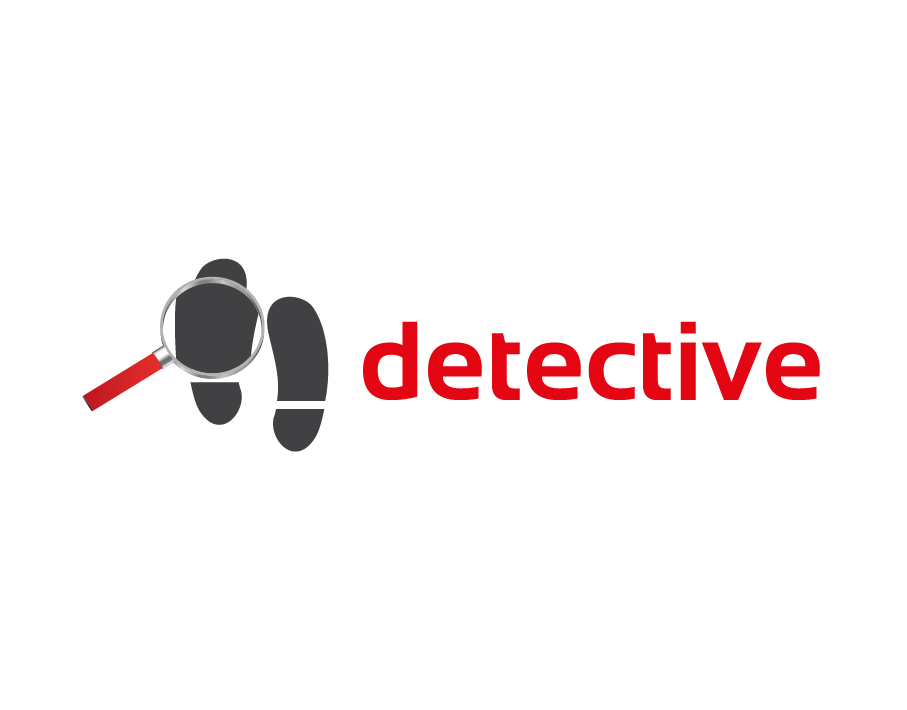 Detective Logo – Shoe Prints With Magnifying Glass in Grey with Red Text