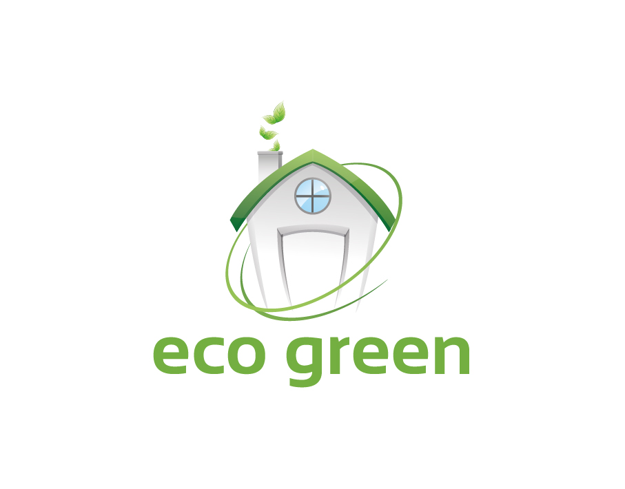 Eco Green Logo – Abstract Green House with Green Text