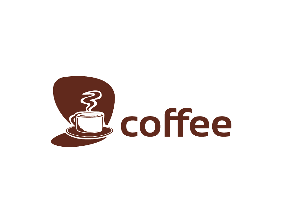 Coffee Logo – White on Brown Coffee Cup with Steam