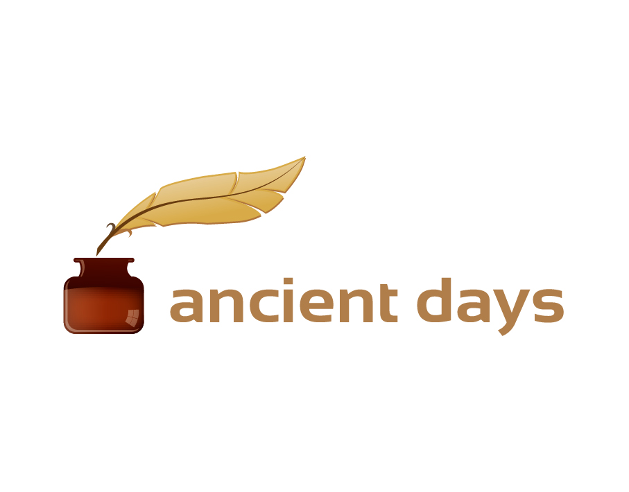 Ancient Days Logo – Quill and Inkwell with Bold Text