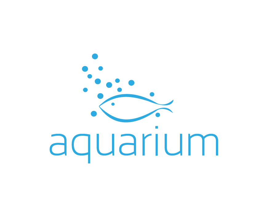 Aquarium Logo – Blue Abstract Fish with Stars and Stylised Blue Text