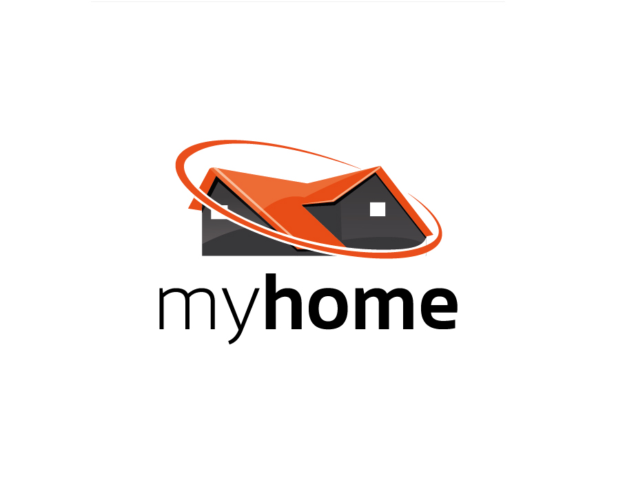 MyHome Logo – Abstract House in Grey and Orange with Stylised Black Text